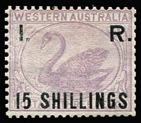 Lot 1283 [1 of 2]:1881 'I. R.' Surcharges on 3d Lilac: 2d, 3d & 6d all with large-part og, and '15 SHILLINGS', unused. RPSV Certificate (2003) for the 15/-, of which Dzelme states only 1200 were printed. (4)