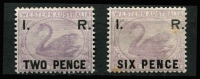 Lot 1284 [2 of 2]:1881 'I. R.' Surcharges on 3d Lilac: 'TWO PENCE', 'THREE PENCE' & 'SIX PENCE' (tone spots), 2d & 3d MUH. (3)