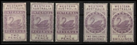 Lot 1287 [2 of 2]:1893-97 Tall Types: 1893 CA/Crown (Vertical Mesh) 2d, 3d, 6d, 2/6d, 5/- & 10/-, large-part og. Very scarce group. (6)