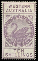 Lot 1287 [1 of 2]:1893-97 Tall Types: 1893 CA/Crown (Vertical Mesh) 2d, 3d, 6d, 2/6d, 5/- & 10/-, large-part og. Very scarce group. (6)