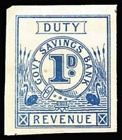 Lot 1278:Govt Savings Bank 1906: 1d blue imperf proof.
