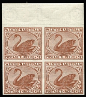 Lot 1268:1882-95 3d Brown Plate Proof imperforate marginal block of 4 on Crown/CA paper, from imprimatur sheets.