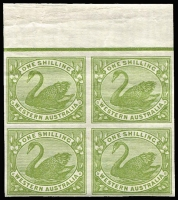 Lot 1272 [1 of 3]:1898-1907 Wmk W Crown A 2d, 2½d, 6d & 1/-, SG #113-6, imperforate marginal blocks of 4, from imprimatur sheet, MUH. (4 blocks)
