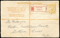 Lot 1286:Karalee: 'KARALEE/6MR16/WESTN AUST' on small orange Roo Registration Envelope to Southern Cross, red W3 WA-type label, Rare.  RO 1/9/1909; PO 1/3/1913; closed 19/7/1940.