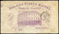 Lot 870 [2 of 2]:1878 (Mar 20) use of 1/- Bell on Golden Fleece Hotel cover (fine full back advert) from Melbourne to France, endorsed Via Brindisi, underpaid by ½d hence red boxed 'IN[SUFFIC]IENTLY PAID/VIA [BR]