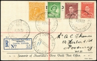 Lot 1006 [1 of 2]:1938 2nd Field Post Office (Sep 29) First Field PO Eastern Golf Links Doncaster registered postcard franked KGV/KGVI issues tied by two good strikes of 'FIELD POST OFFICE/No2/VIC-AUST' cds, another strike ties the special registration label, very fine.