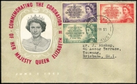 Lot 483:Berry 1953 Coronation set on illustrated FDC, typed address.
