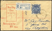 Lot 914 [1 of 2]:Bodin (Rex) 1949 £1 Arms on FDC, registered at Melbourne, opened at left. addressed.