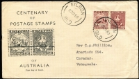 Lot 485 [1 of 2]:Brisbane Stamp Co 1950 Stamp Centenary pair tied by 'EILDON/27SE50/QLD' datestamp to illustrated FDC to Venezuela. Unusual destination.