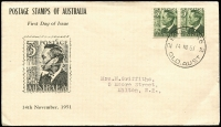 Lot 484:Brisbane Stamp Co 1951 3d Dark Green KGVI pair tied by '2 BRISBANE 2/14NO51/QLD,AUST' datestamp to Brisbane Stamp Co illustrated cover, typed address.