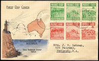 Lot 1840:Byron Philatelic Society 1953 Produce Food 3d & 3½d strips of 3 on illustrated cover, typed address.