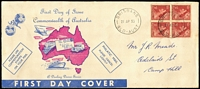 Lot 953 [2 of 2]:Darling Downs 1953 3½d Red QEII on long pink & blue generic cover x2, one with block of 4 and one with strip of 3, both addressed. (2)