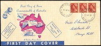 Lot 953 [1 of 2]:Darling Downs 1953 3½d Red QEII on long pink & blue generic cover x2, one with block of 4 and one with strip of 3, both addressed. (2)