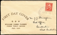 Lot 954:Mitchell 1948 2½d Farrer on cover with rare gold cachet, Perth 12JY48 cancel, addressed.