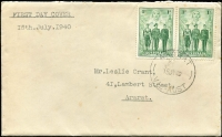 Lot 662:Quality Stamps Event1940 1d AIF pair tied by Ararat '15JY40' FD datestamp to plain Quality Stamps (Les Grant) cover, typed address to Grant. Earliest recorded Quality FDC, Exceedingly rare.
