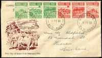 Lot 1848:Queensland Stamp Mart 1953 Produce Food 3d & 3½d strips of 3 on 'Beef' illustrated cover, pen address.