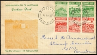 Lot 1849:Queensland Stamp Mart 1953 Produce Food 3d & 3½d strips of 3 on 'Wheat' illustrated cover, pen address.