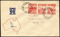 Lot 1850:Sinclair 1953 3½d Produce Food strip of 3 on illustrated cover, typed address.