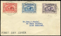 Lot 850:Unidentified 1931 Kingsford Smith set tied by Balaclava '19MR31' cancel fith black 'FIRST DAY COVER' handstamp on face, typed address.