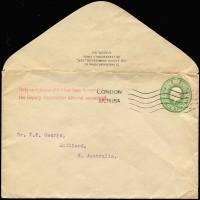 Lot 634:1915 inwards unsealed ½d Envelope from England to Maitland, SA with 'Duty on this pamphlet has been forwarded to/the Deputy Postmaster General concerned.' handstamp on face