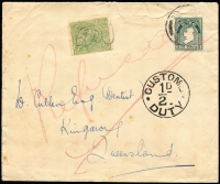 "Lot 631:1923? inwards sealed cover from Ireland to Kingaroy, Queensland, 'CUSTOMS/½D/DUTY' handstamp on face. Prominent mss ""Refused"" on face but ½d green KGV used to pay duty."
