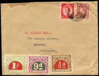 Lot 1109 [1 of 2]:1923 5th Series Perf 11¾ 1/-, 9d & ½d on face of c.1953 normal-size cover from GB to Sydney. A very high rate for a cover of this size. Presumably the contents were some other dutiable object rather than advertising.
