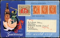 Lot 1108 [1 of 3]:1923 5th Series Perf 11¾ ½d on terrific Guinness self mailing booklet with 4-colour illustrated back & front showing beer bottle & Neptune, GB ½d orange KGVI strip of 3 for printed paper rate. Sent from Liverpool to South Australia. Rare with contents.