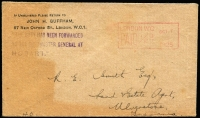 "Lot 639 [1 of 2]:1925 inwards unsealed cover from England to Ulverstone, Tas, ½d Paid machine cancel. Violet '""THE DUTY ON THIS PAMPHLET HAS BEEN FORWARDED TO/THE POSTMASTER GENERAL AT HOBART.""' handstamp applied to face by sender."
