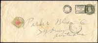 Lot 565 [1 of 2]:1926 inwards unsealed 1c Envelope from USA to Sydney, 'CUSTOMS DUTY/½D/TO PAY' handstamp on face, ½d Postage Due used to pay the customs duty. Rare.