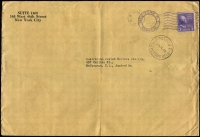 Lot 635:1940 inwards unsealed cover from USA to Melbourne, 'PASSED 1/25JL40/H M CUSTOMS MELB' (LRD)' cds on face. Very rare.