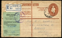 Lot 636 [1 of 2]:1950 (Oct 21) 8½d Registration Envelope from Goulburn to England, Customs form on face for Nylons valued at 13/6d.