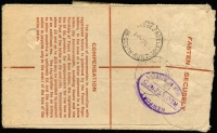 Lot 633 [2 of 2]:1951 (Feb 4) 8½d Registration Envelope (uprated with 4/4d for airmail) from Woomera West to Isle of Wight, Customs form on face for Stockings valued at 11/3d. Unusual rate.
