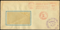 Lot 638 [1 of 2]:1954 inwards unsealed window envelope from Germany to NSW, red 'CUSTOMS DUTY/2D/TO PAY' handstamp on face. Released by Customs clock also on face. Rare.