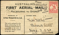 Lot 1020 [2 of 2]:1914 Melboure-Sydney Wizard Stone special PPC, AAMC #2, with 1d Roo cancelled at Sydney on 24 Aug, a pair of ½d Roos on the picture side is uncancelled, mailed to Young, NSW, corner fault, Cat $800.
