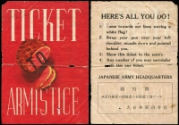 Lot 609 [1 of 4]:War in Asia Australian produced original drop-leaflets, distributed over Japan, comprising images of Japanese POW's (i) eating and apparently contented, (ii) couple sifting rice, former with English instructions, 'J.185' Allied Forces propaganda leaflet to 'Responsible Officers' (English translation with errors, such as 'their', 'surunder', 'loosing'), and the Japanese equivalent leaflet, 'Ticket To Armistice', dropped over Allied strongholds, typical blemishes for 'field' aerially distributed articles. A rare group. (4)