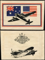 Lot 688 [2 of 3]:War in Asia Allied Propaganda air-dropped leaflet, text in Indonesian, also unused envelope of the type this leaflet was dropped from (Australian, Dutch and US flags front), and another envelope used for such purposes, with Australian and US flags, both envelopes featuring Air Force planes, including 'Liberator', 'Beaufort Bomber', and 'Boomerang'. Rare group, in fine condition. (3)
