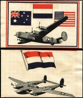 Lot 688 [1 of 3]:War in Asia Allied Propaganda air-dropped leaflet, text in Indonesian, also unused envelope of the type this leaflet was dropped from (Australian, Dutch and US flags front), and another envelope used for such purposes, with Australian and US flags, both envelopes featuring Air Force planes, including 'Liberator', 'Beaufort Bomber', and 'Boomerang'. Rare group, in fine condition. (3)