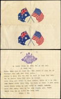 Lot 1063 [3 of 5]:War in Asia Remarkable trio of leaflets dropped by Australian Forces over PNG, comprising map of Asia/Pacific with message on reverse in Japanese, signed by General Blamey, and Propaganda leaflets (2) distributed by RAAF with native motif or flags of Aust/US, messages in Pidgin. Rare group (3)