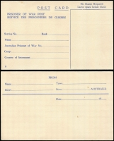 Lot 1064 [2 of 2]:War in Asia Australian POW Stationery postcards inscribed 'No Stamp Required', editions 'H' and 'I', latter with added address c/o Japanese Red Cross Society, Tokyo, unused (2)