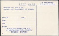 Lot 1064 [1 of 2]:War in Asia Australian POW Stationery postcards inscribed 'No Stamp Required', editions 'H' and 'I', latter with added address c/o Japanese Red Cross Society, Tokyo, unused (2)