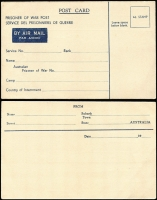 Lot 948 [2 of 2]:War in Asia Australian POW Stationery postcards denominated '4d', one with Nternment inscription error (trifle foxed), believed to be the only example, unused (2)