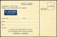 Lot 690 [1 of 2]:War in Asia Australia POW Stationery Airmail postcard, denominated '4d', added address c/o Japanese Red Cross Society, Tokyo, unused