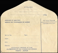 Lot 949 [2 of 2]:War in Asia Australia POW Stationery envelopes (2) inscribed in black (a little creased) or blue (edition 'G'), 'No Stamp Required', significant variations in addressing details, unused, scarce duo. (2)