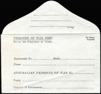 Lot 949 [1 of 2]:War in Asia Australia POW Stationery envelopes (2) inscribed in black (a little creased) or blue (edition 'G'), 'No Stamp Required', significant variations in addressing details, unused, scarce duo. (2)