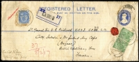 Lot 1053 [1 of 2]:1917 (Feb 8) inwards Indian 2½a Registration Envelope (HG #C3b) + ½a x2 & 2½a, to Lt. General Sir W. R. Birdwood K.C.S.J. K.C.M.G. C.B./Comdr. Australian & New Zealand Army Corps/(Anzacs.)/British Expeditionary Force/France from Capt J Power/19 B.L./Burma Mily. Police cancelled at Lashio, Burma, fine double-circle 'FIELD POST OFFICE/16MR/17/H.C.I' (A1 - France).