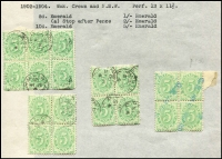 Lot 875 [3 of 7]:1902 to 1950s used collection mounted on pages and organised by issue, wmk & perforation, many blocks, some large, giving plenty of plating and variety potential, predominantly cds cancels mainly from WA. Noted 4d Void Base block of 6, 5d Complete Design blocks of 6 & 4 x3, 1908 1/- strip of 3, 1909 Thick Paper 6d block of 16, 1/- blocks of 10 & 6, 5/- block of 4, 1913 Thin Paper 3d block of 6, 1/- strip of 4, 1915 3rd Wmk 3d blocks of 10 x3 & 6, CofA 2d P11 blocks of 50, 43, 25 & 15, 4d P11 blocks of 30 x4, 27, 24 x2, 18, 17, 15, 12, 6x2. (100s)