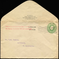 Lot 831:1915 inwards unsealed ½d Envelope from England to Maitland, SA with 'Duty on this pamphlet has been forwarded to/the Deputy Postmaster General concerned.' handstamp on face