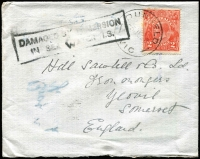 Lot 1015:1923 (Jul 3) cover Dunkeld (Vic) to Somerset showing framed 'DAMAGED BY IMMERSION/IN SEA WATER I.S.' handstamp.