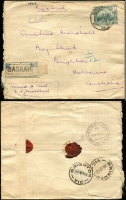 Lot 1017 [2 of 4]:1926-28 Iraq to Brighton Victoria covers, comprising [1] 1926 (May 29) registered cover from Basrah with 3a x3; [2] 1926 (Nov 6) registered cover franked 6a tied Basrah cds; [3] 1926 (Feb 6) registered cover from Basrah with 3a x2; [4] 1928 (Mar 14) Armenian Church cover franked 4a and 2a tied Baghdad cds, Port Said transit, red/white 'OVERLAND MAIL' label on face. Nice group, first time offered, from Marshall correspondence (4)
