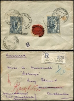Lot 811 [3 of 4]:1926-28 Iraq to Brighton Victoria covers, comprising [1] 1926 (May 29) registered cover from Basrah with 3a x3; [2] 1926 (Nov 6) registered cover franked 6a tied Basrah cds; [3] 1926 (Feb 6) registered cover from Basrah with 3a x2; [4] 1928 (Mar 14) Armenian Church cover franked 4a and 2a tied Baghdad cds, Port Said transit, red/white 'OVERLAND MAIL' label on face. Nice group, first time offered, from Marshall correspondence (4)